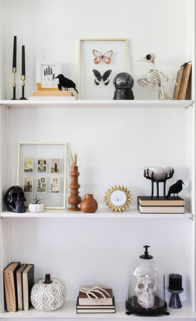 minimalist halloween decor spooky shelfie