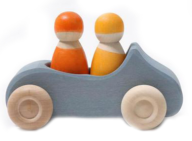 Blue Grimm's Wooden Convertible Car with Two Orange Wooden Figurines
