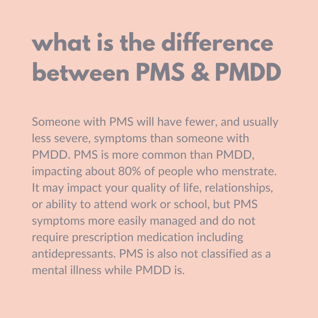 Graphic outlining PMS vs PMDD