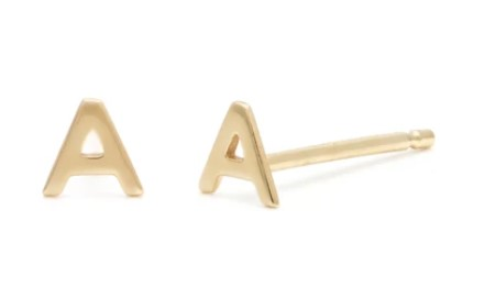 Melanie Auld Individual Initial Studs A 14k Solid Gold