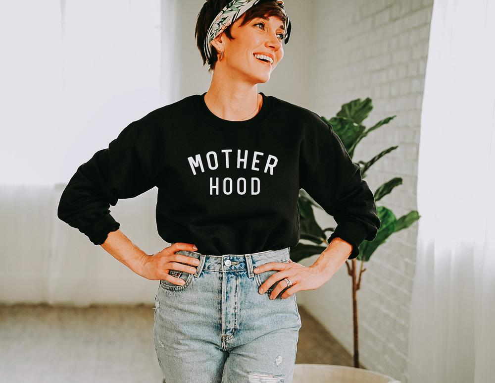 Woman in Black Motherhood Crewneck Simple Girl Canada Mother's Day Gift Ideas