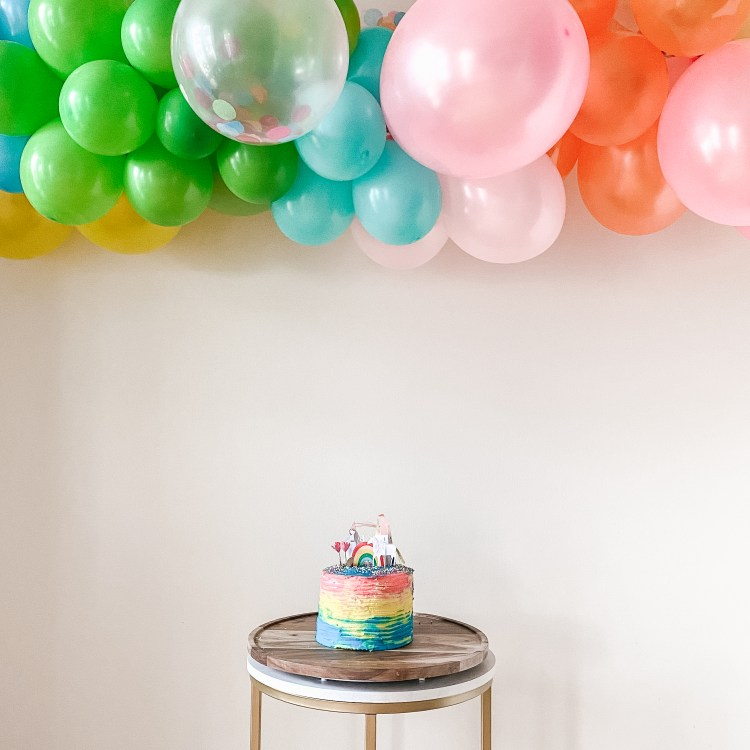 Rainbow Balloon Garland and Rainbow Birthday Cake