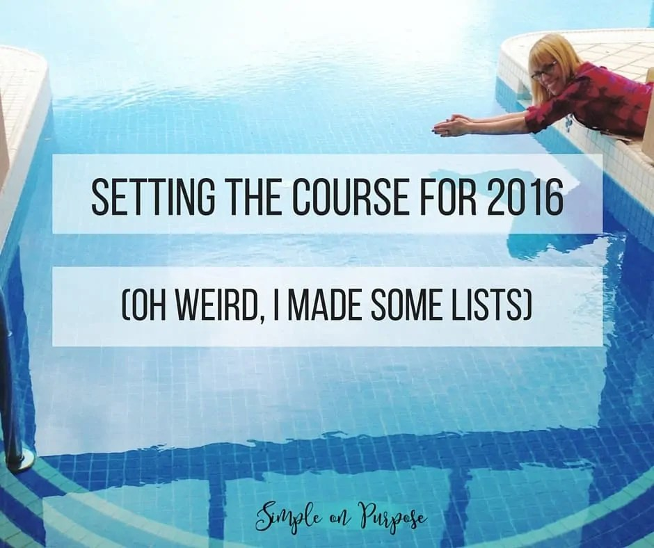 This year my husband and I made these lists to set out our goals for 2016. It isn't about resolutions, it is about setting a course.