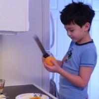 Orange Chiffon Cake and Blackberry Sauce