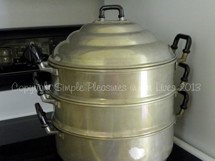I steam in a two level steamer (the bottom holds the water and the two levels above it hold the cake pans) - note that I switch the levels with the cake pans around throughout the steaming process (i.e. first to second and second to first) for a more even steaming