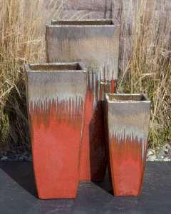 luna tan orange triple vase fountain