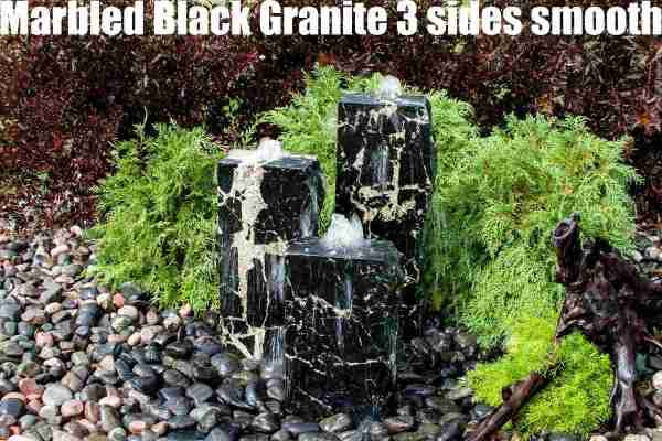 marbled black granite 3 sides smooth