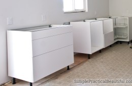 IKEA SEKTION base cabinets installed with drawers in a kitchen remodel
