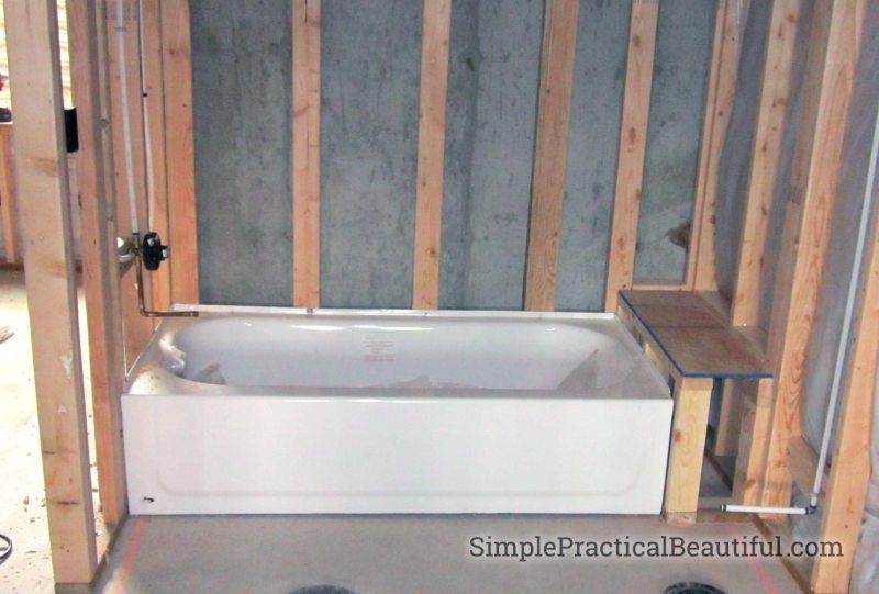 Bathtub during home construction