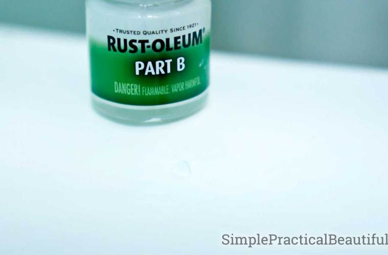 A small chip in the finish repair with Rust-Oleum Tub and Tile Touch-up epoxy