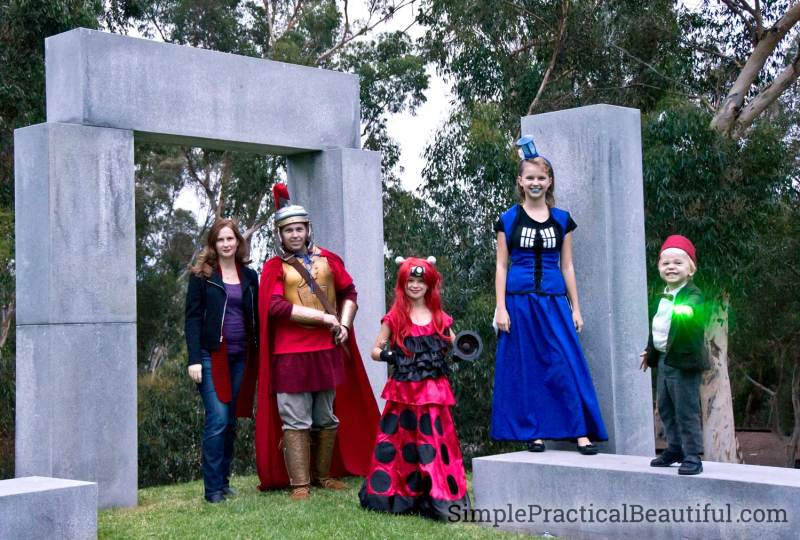 Dr. Who family costumes with a Dalek, the Tardis, and the Last Centurion