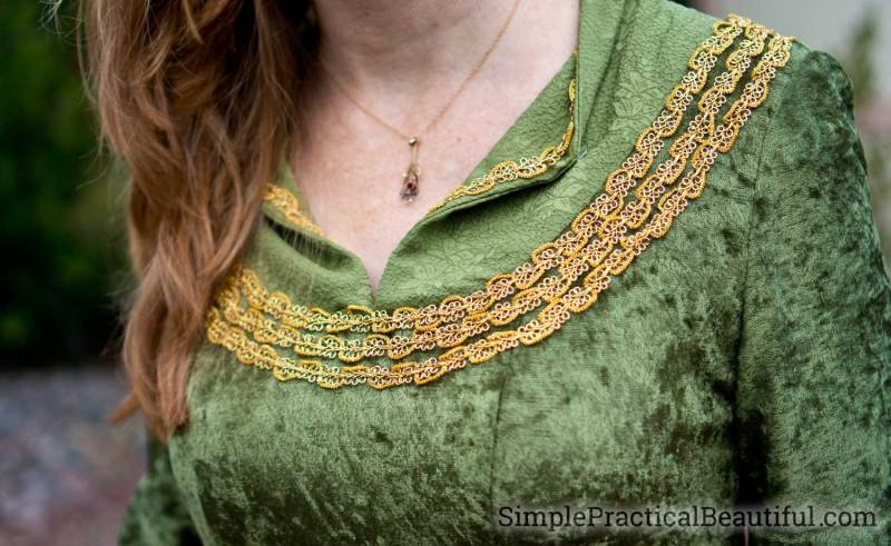 Embroidered neckline and collar from Eowyn costume