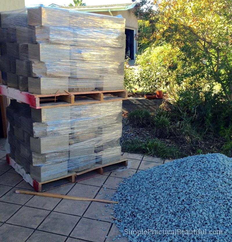 interlocking bricks to build the retaining wall
