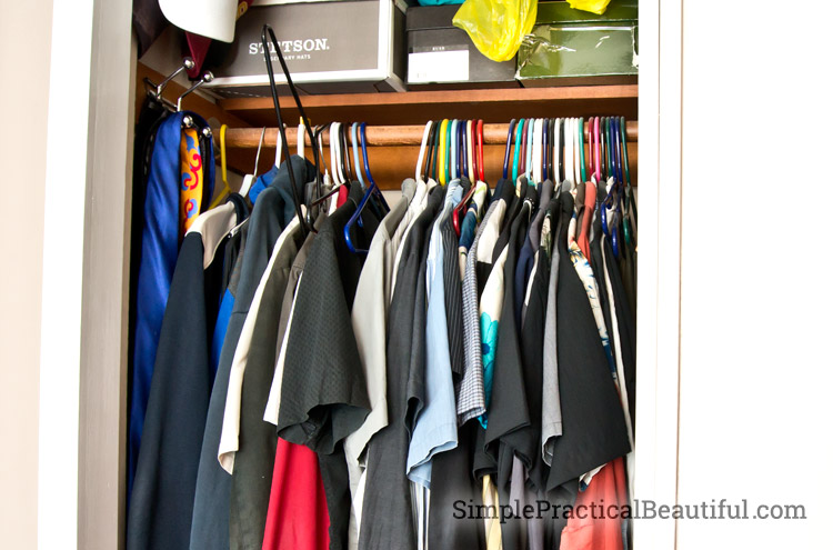 Plastic hangers make a messy closet