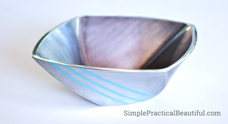 Brushed metal bowl upcycled