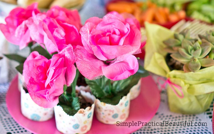 Fairy garden party food - flower pudding cups