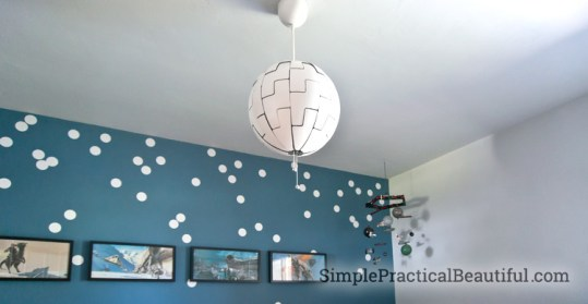 How to Replace an Old Fixture with a New Light   Simple Practical     A Death Star light for a Star Wars nursery