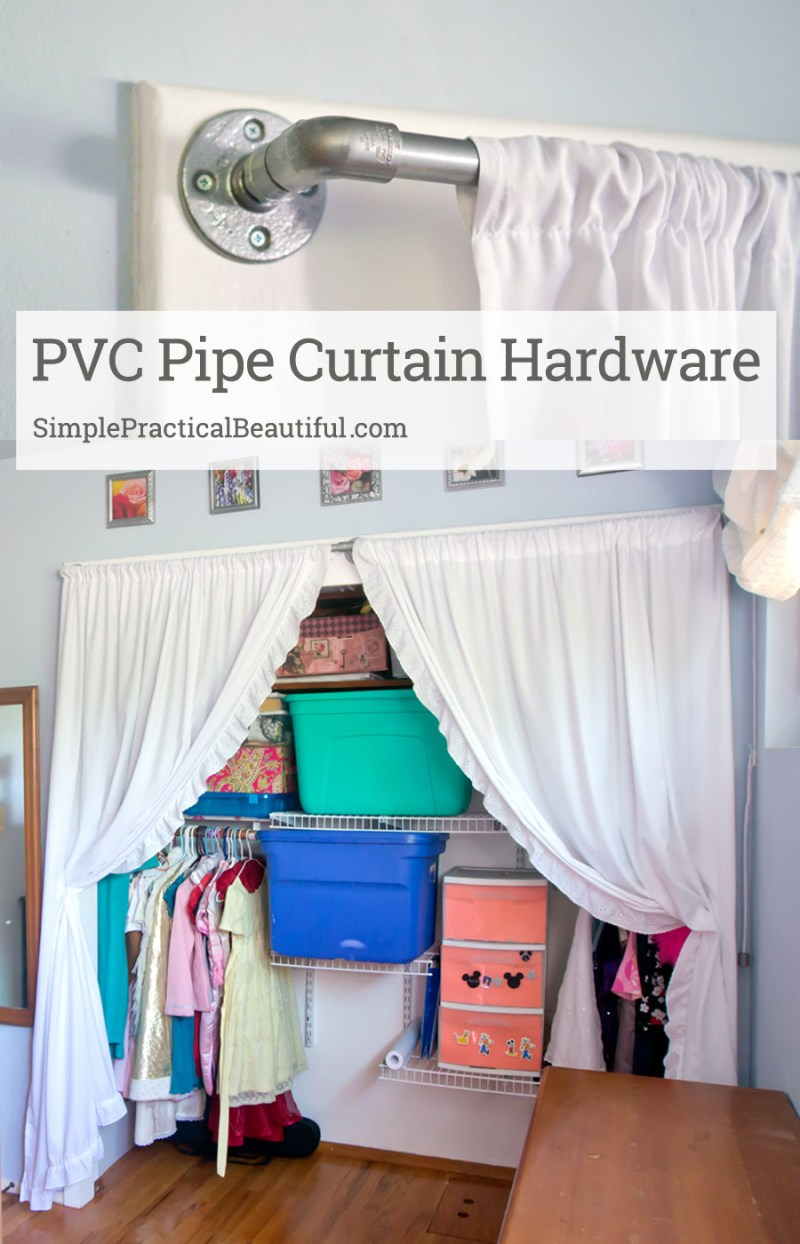 Use PVC pipe to make inexpensive hardware for your curtains that looks like industrial pipes. An easy DIY.