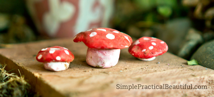 Sculpted mushrooms make a cute fairy table and chairs.