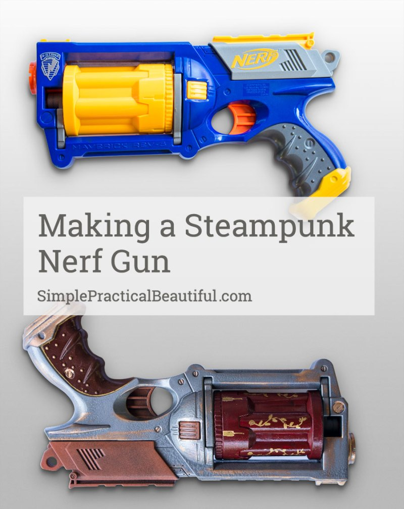 A Nerf dart costume made into a steampunk blaster. Perfect for any steampunk costume.