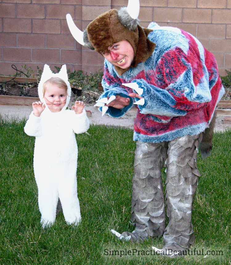 Max and Wild Thing themed Halloween costume from Where the Wild Things Are