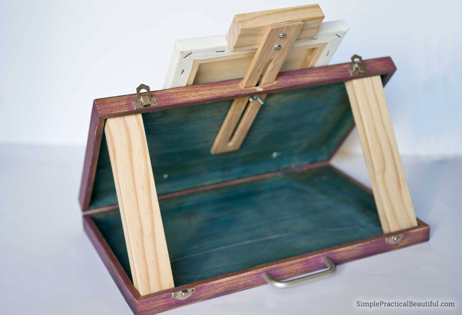 Make a DIY Portable Art Easel Out of an Old Wood Case ... on Easel Decorating Ideas  id=64933