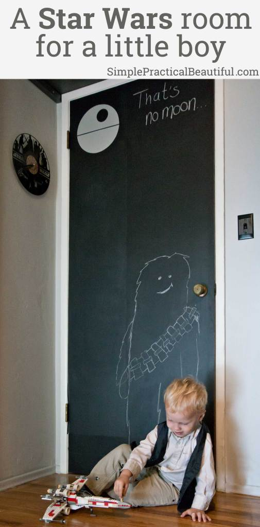 DIY Star Wars boy's room | chalkboard door | Darth Vader light switch | Death Star light | Star Wars nursery ideas