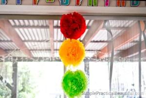 Tissue flowers make a stop light decoration