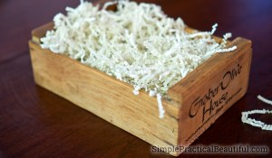 small rustic wood crate to hold a DIY spa gift set