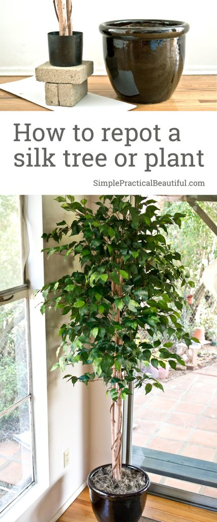 Tutorial on how to repot a silk tree or faux plant | Transplant a fake tree into a new pot or planter | Using silk trees indoor in home decor