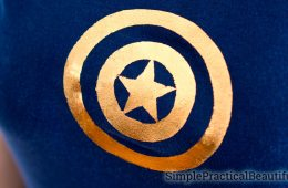 DIY Avengers t-shirt with a Captain America shield design in metallic