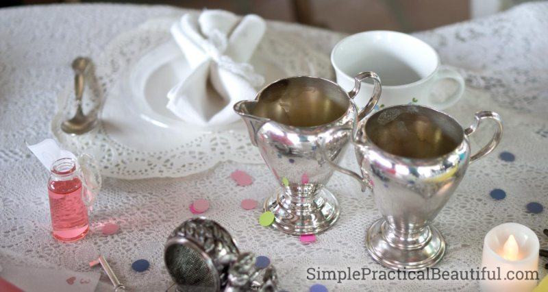Silver tea cream and silver bowls for a Mad Hatter Tea Party