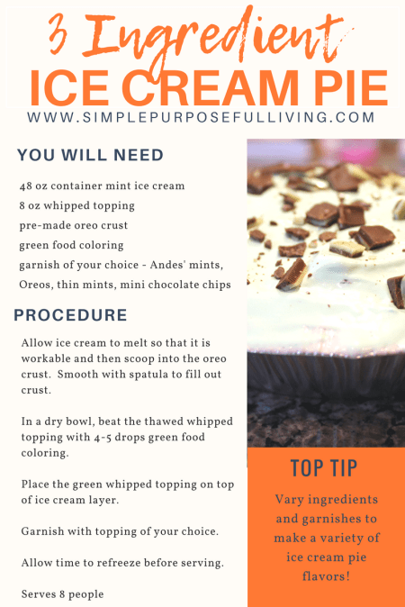 simple ice cream pie recipe card