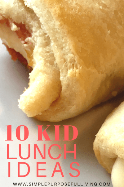crescent roll pizza with text 10 kid lunch ideas
