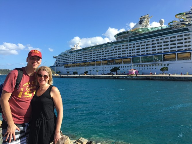 Couple in front of Royal Caribbean Cruise ship St. Thomas