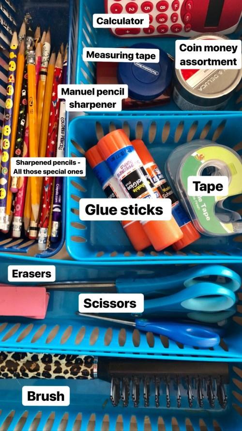 homework drawer full of office supplies