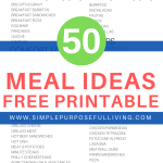 50 Meal ideas free printable