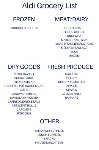 Aldi Shopping List + Weekly Meal Plan | Simple Purposeful Living