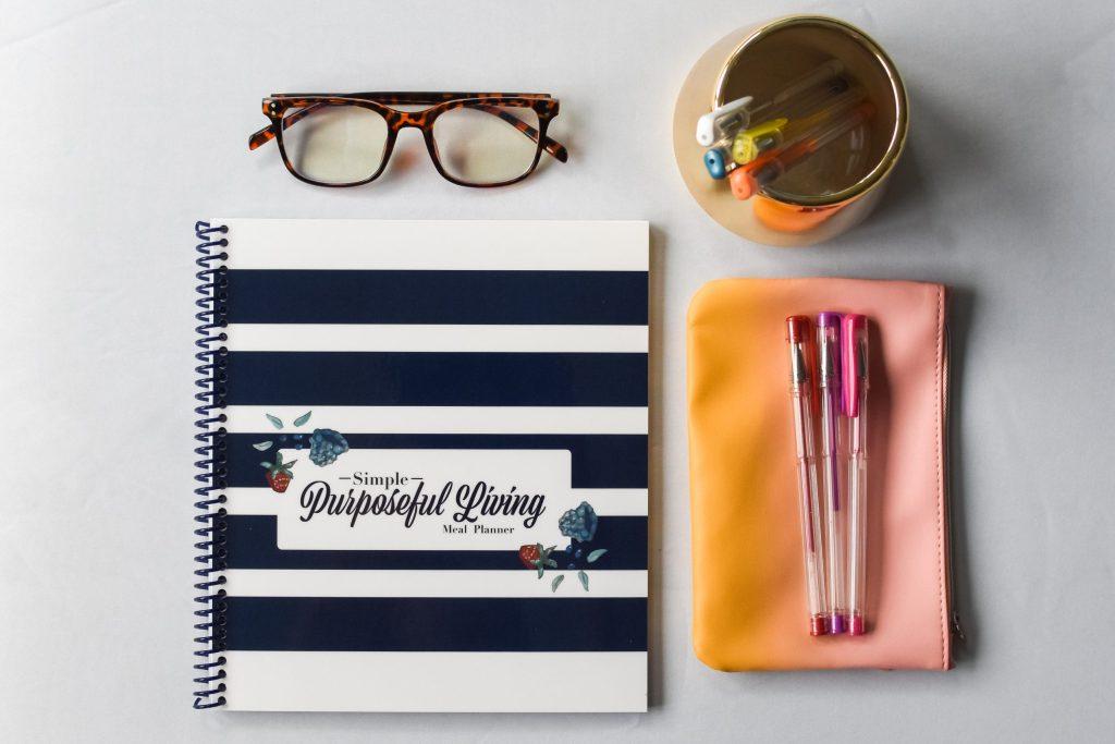 Simple Purposeful Living 52 week meal planning journal flatlay