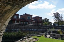 View of the old train station from under the bridge - Kent Ohio