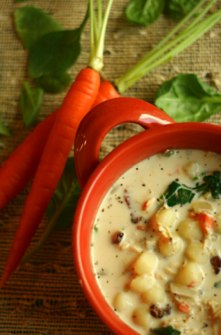 Chicken Gnocchi Soup with Spinach