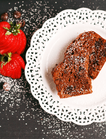 Double Chocolate Bread with Strawberries