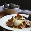Burrata with Figs, Honey and Roasted Pistachios