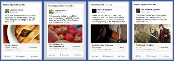 Anúncio no feed de notícias do Facebook