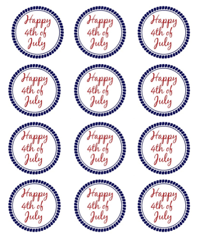 Happy 4th of July Small round Tags - Simple Sojourns