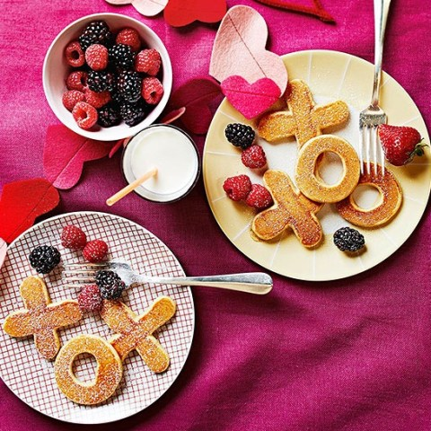 Valentine's Day Pancakes with Fresh Fruit
