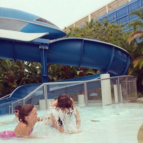 Disneyland Hotel Splash Pad Water Spouts - Simple Sojourns