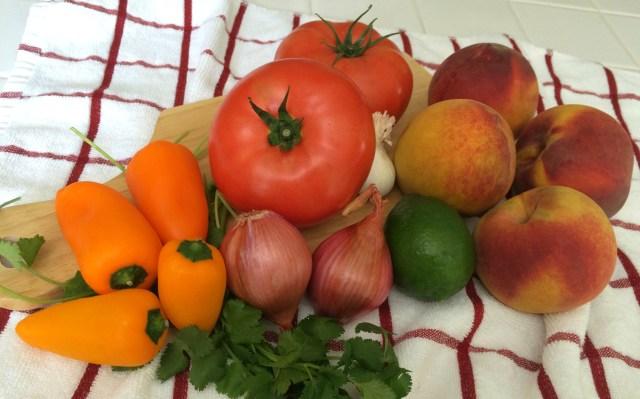 Fresh Peach Salsa Ingredients - Simple Sojourns