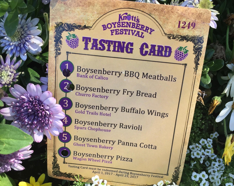 Knott's Berry Farm Boysenberry Festival Tasting Card - Simple Sojourns