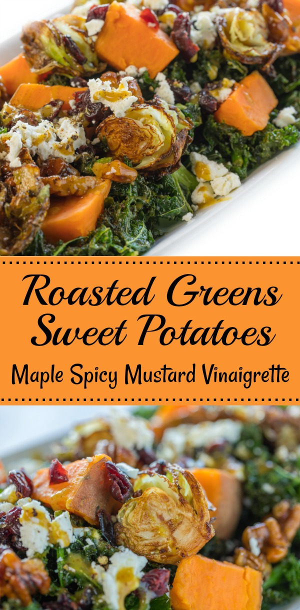 Evergreen Autumn - Roasted Greens and Sweet Potatoes with Maple Spicy Mustard Vinaigrette #Vegetables #Thanksgiving #Vegan #SweetPotatoes #BrusselsSprouts #Vinaigrette - Simple Sojourns